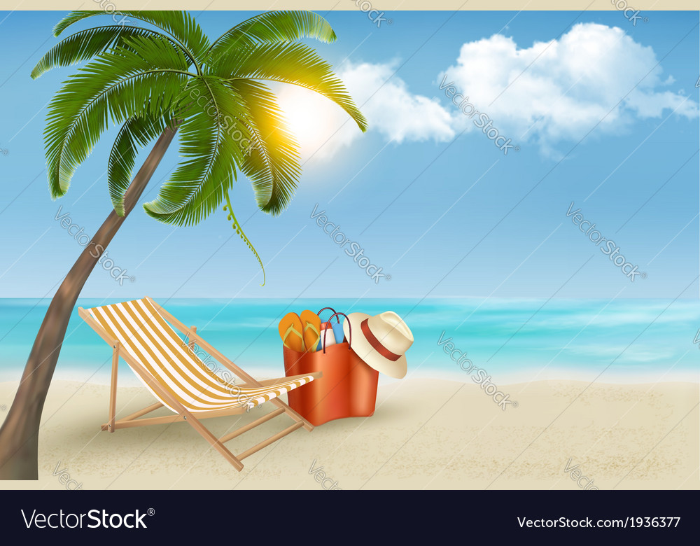 Palm leaves on beach vector | Price: 1 Credit (USD $1)