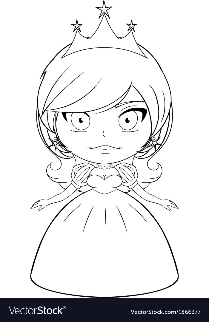 Princess coloring page 2 vector | Price: 1 Credit (USD $1)