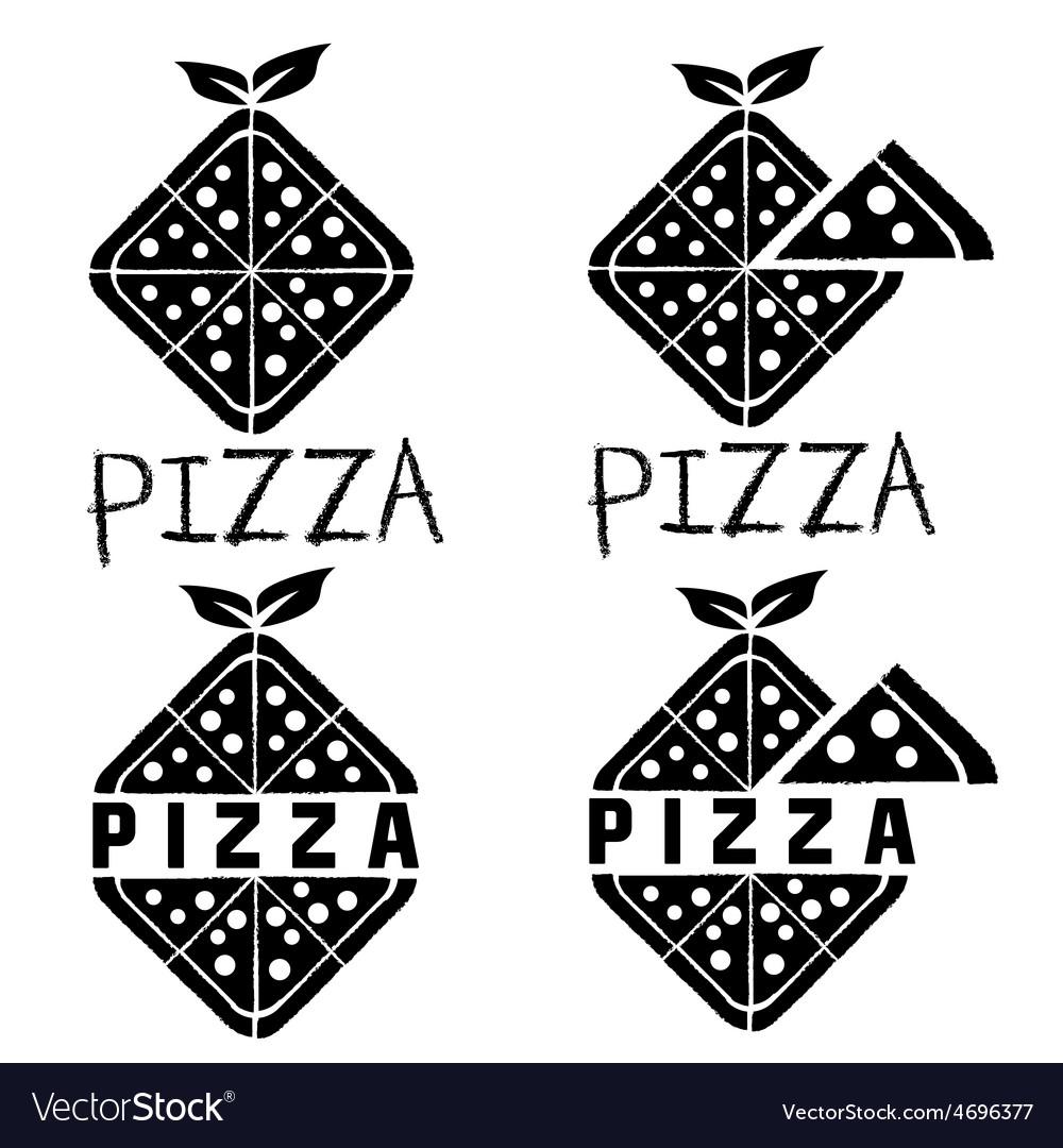 Rhombus pizza set design template vector | Price: 1 Credit (USD $1)