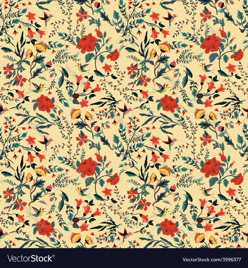Seamless floral pattern with roses and birds vector