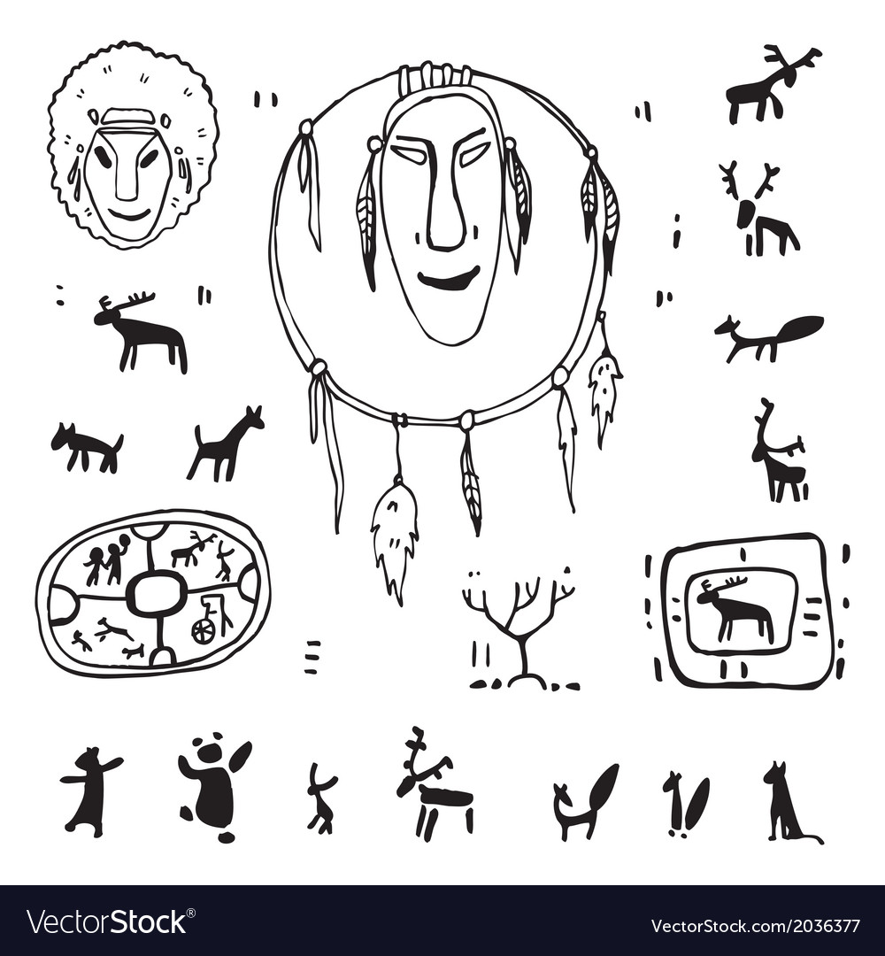 Siberia primitive painting set vector | Price: 1 Credit (USD $1)
