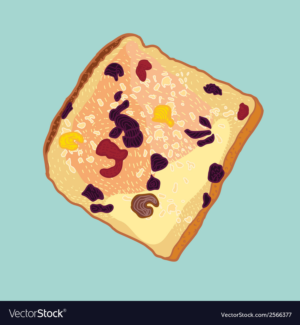 Slice of bread with raisins vector | Price: 1 Credit (USD $1)