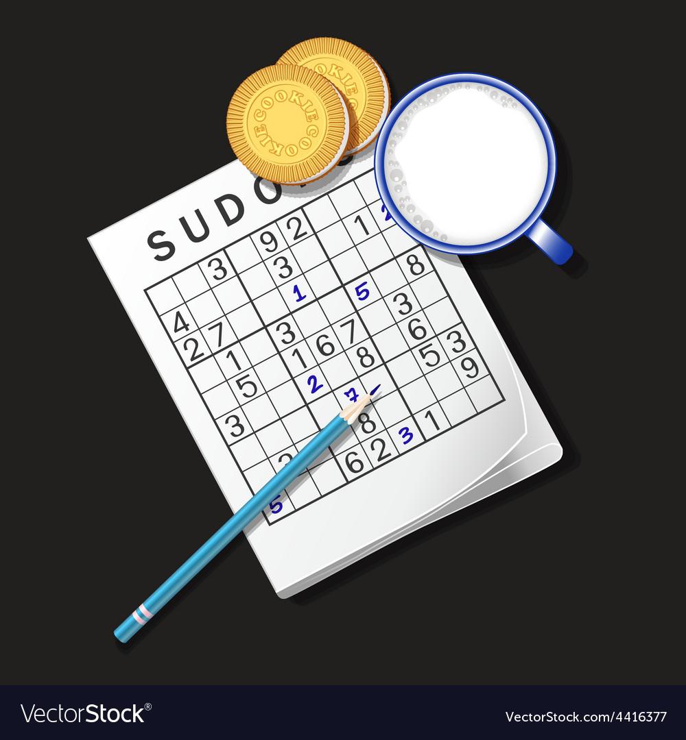 Sudoku game mug of milk and cookie vector   Price: 1 Credit (USD $1)