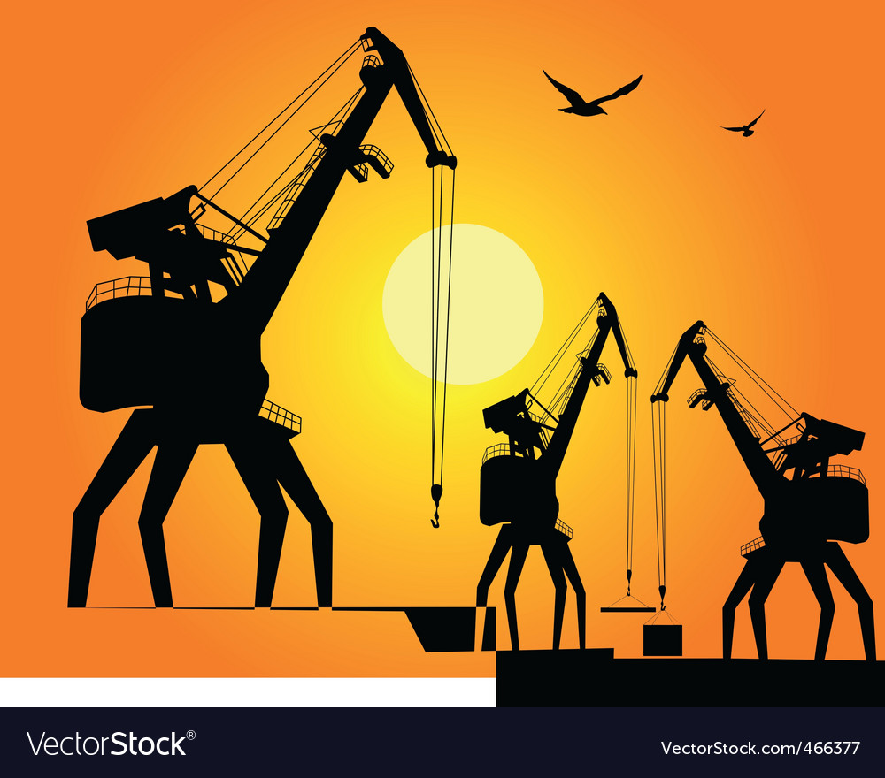 Three port cargo crane vector | Price: 1 Credit (USD $1)