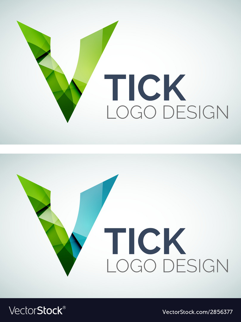 Tick logo design made of color pieces vector | Price: 1 Credit (USD $1)