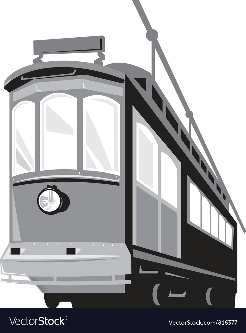Vintage streetcar tram train vector | Price: 1 Credit (USD $1)