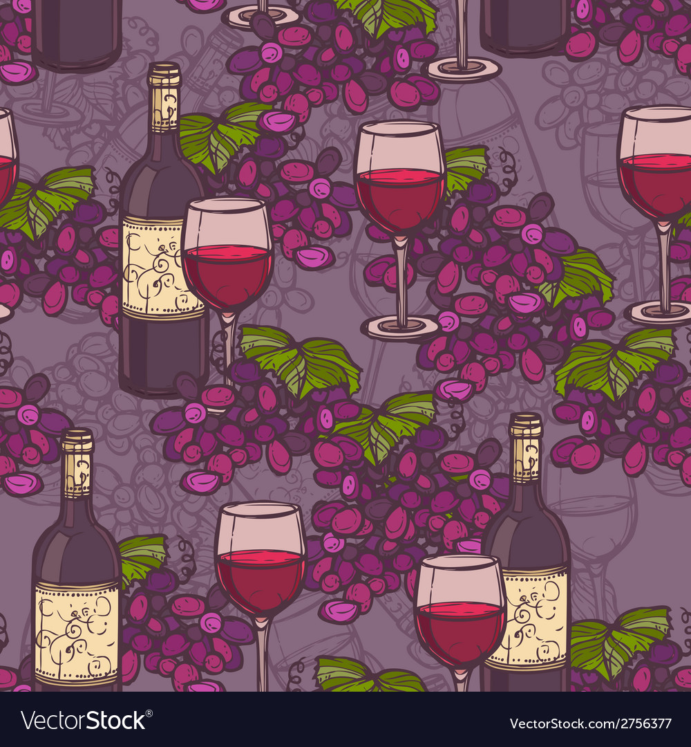 Wine sketch seamless pattern vector | Price: 1 Credit (USD $1)
