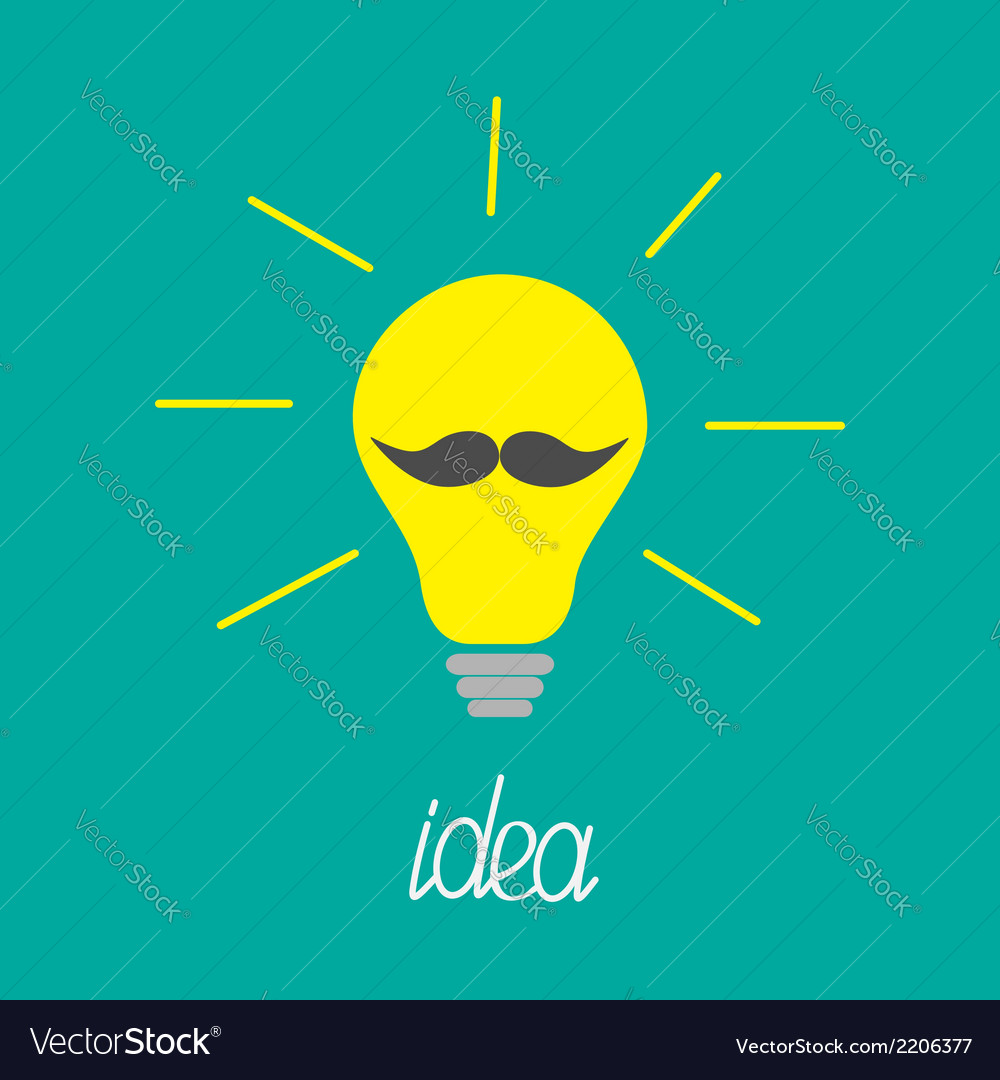 Yellow light bulb with mustaches idea concept vector | Price: 1 Credit (USD $1)