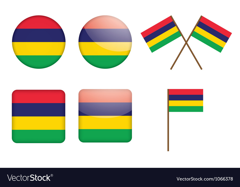 Badges with flag of mauritius vector | Price: 1 Credit (USD $1)