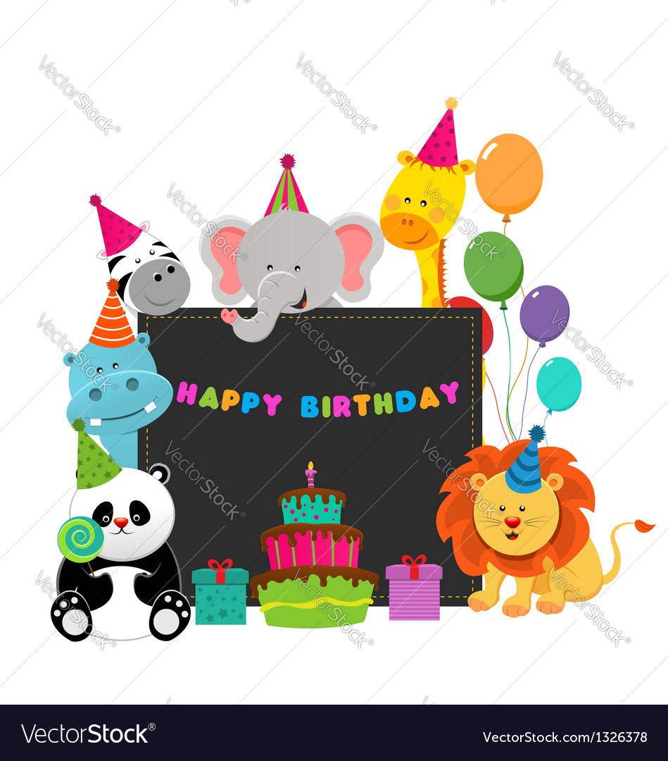 Birthday animals vector | Price: 3 Credit (USD $3)
