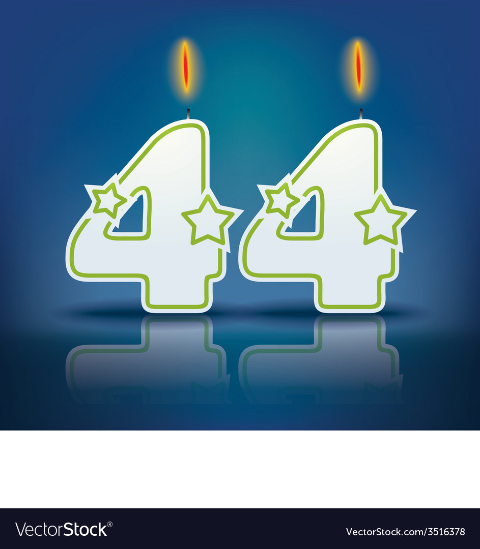 Birthday candle number 44 vector | Price: 1 Credit (USD $1)