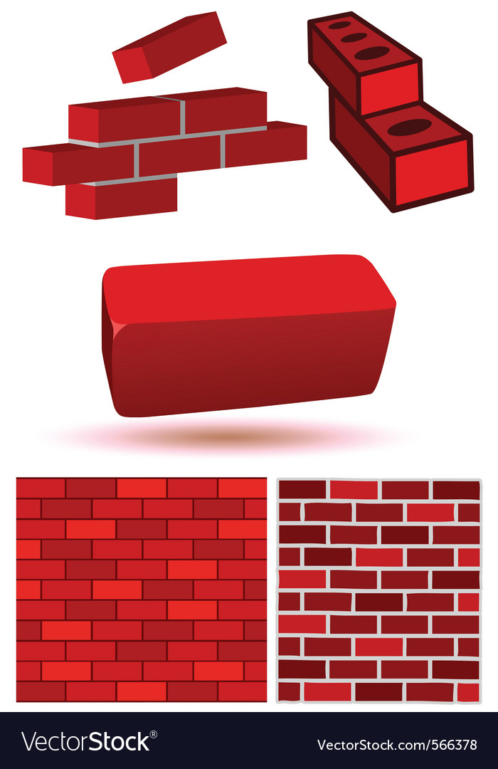 Brick wall set vector | Price: 1 Credit (USD $1)