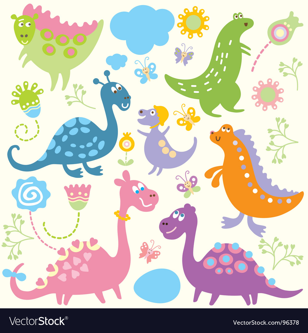 Cartoon dinosaurs vector | Price: 1 Credit (USD $1)