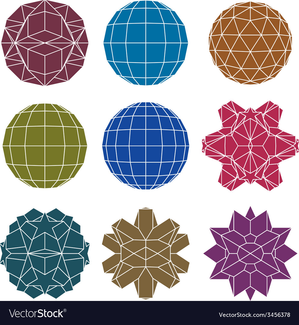 Collection of 9 single color complex dimensional vector | Price: 1 Credit (USD $1)