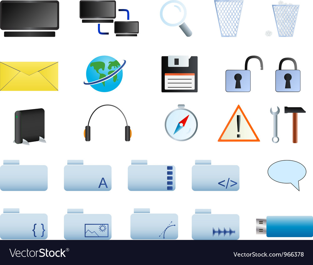 Computer icons set web20 vector | Price: 1 Credit (USD $1)