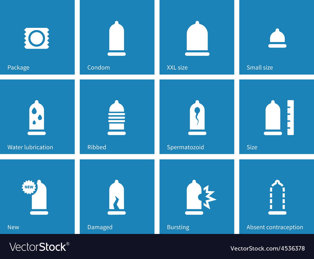 Condom and contraception icons on blue background vector | Price: 1 Credit (USD $1)