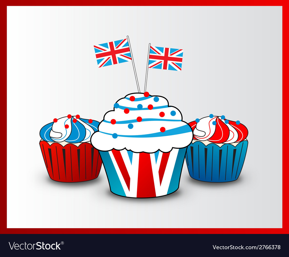 Cupcake with england flag concept vector | Price: 1 Credit (USD $1)