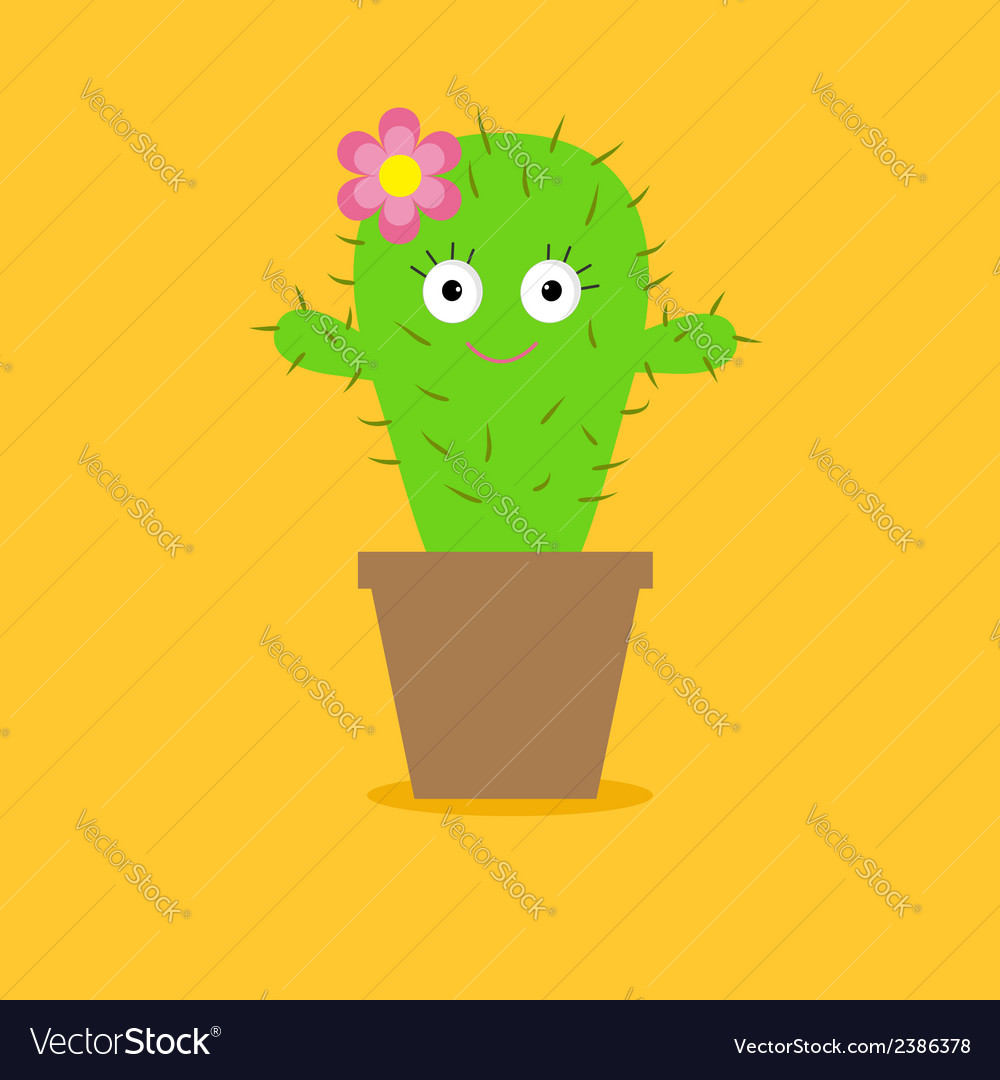 Cute cartoon cactus with eyes and flower in pot vector | Price: 1 Credit (USD $1)