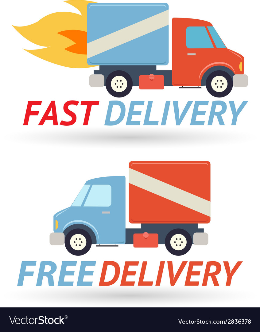 Fast free delivery symbol shipping truck icon vector | Price: 1 Credit (USD $1)