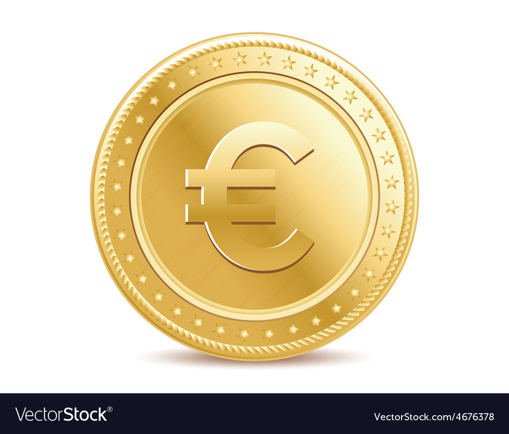 Golden isolated euro coin on the white background vector | Price: 1 Credit (USD $1)