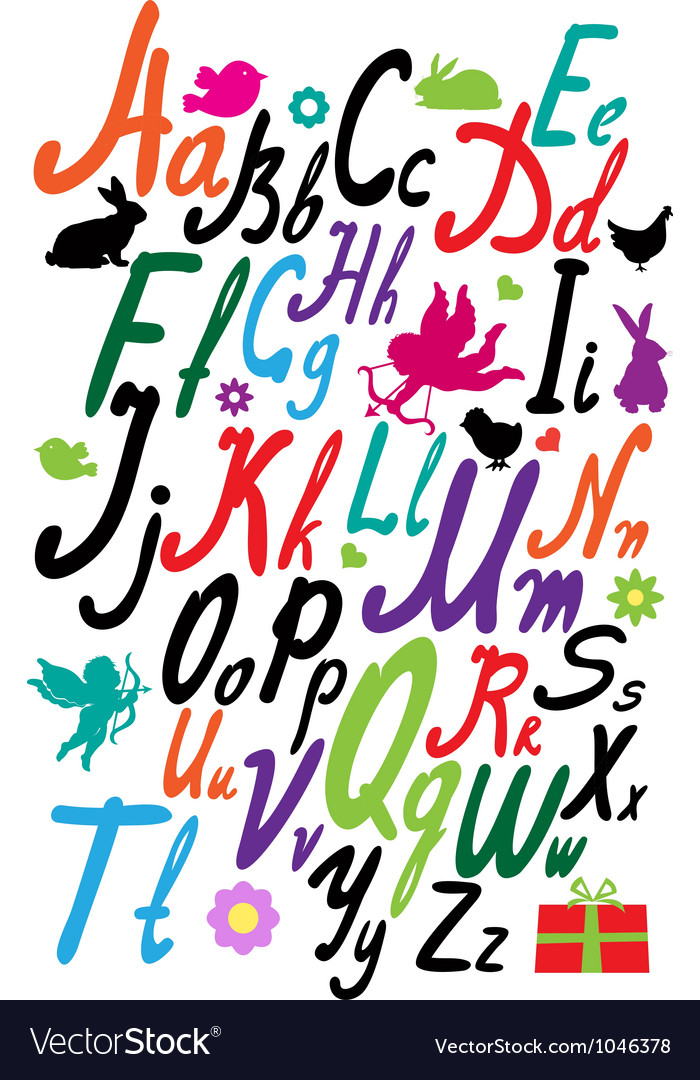Handwriting alphabet vector
