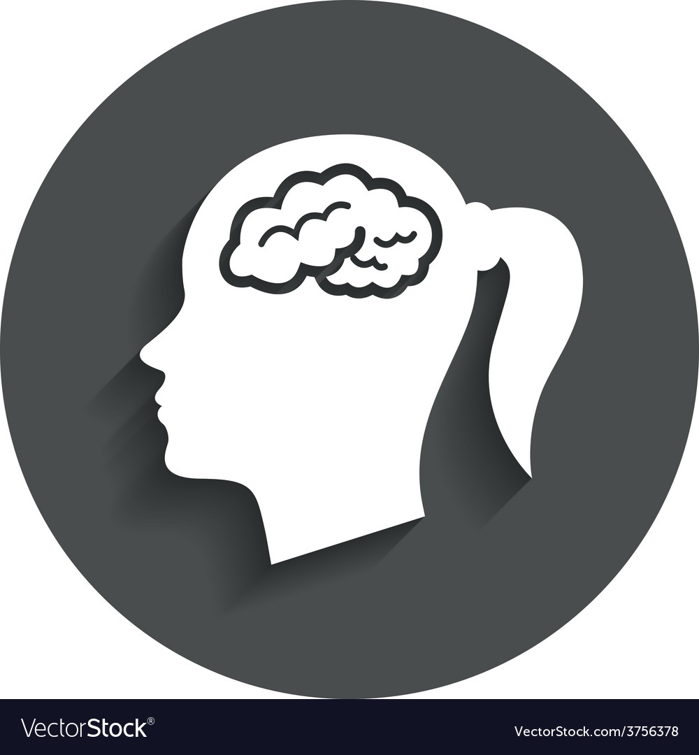 Head with brain sign icon female woman head vector | Price: 1 Credit (USD $1)