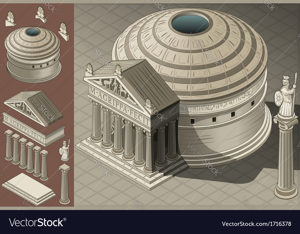 Isometric pantheon temple in roman architecture vector | Price: 1 Credit (USD $1)