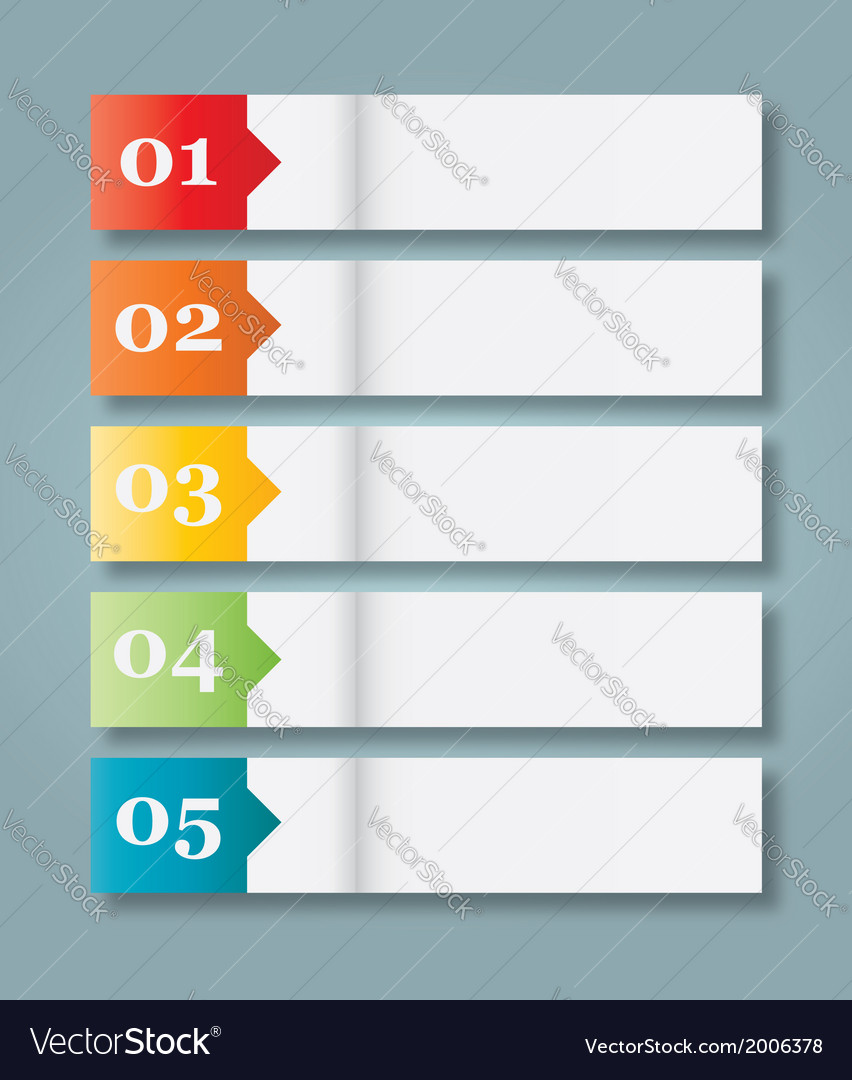 Set of 5 numbered paper style headers vector