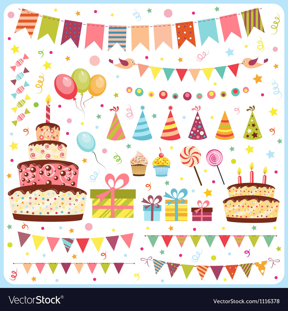 Set of birthday party elements vector | Price: 3 Credit (USD $3)