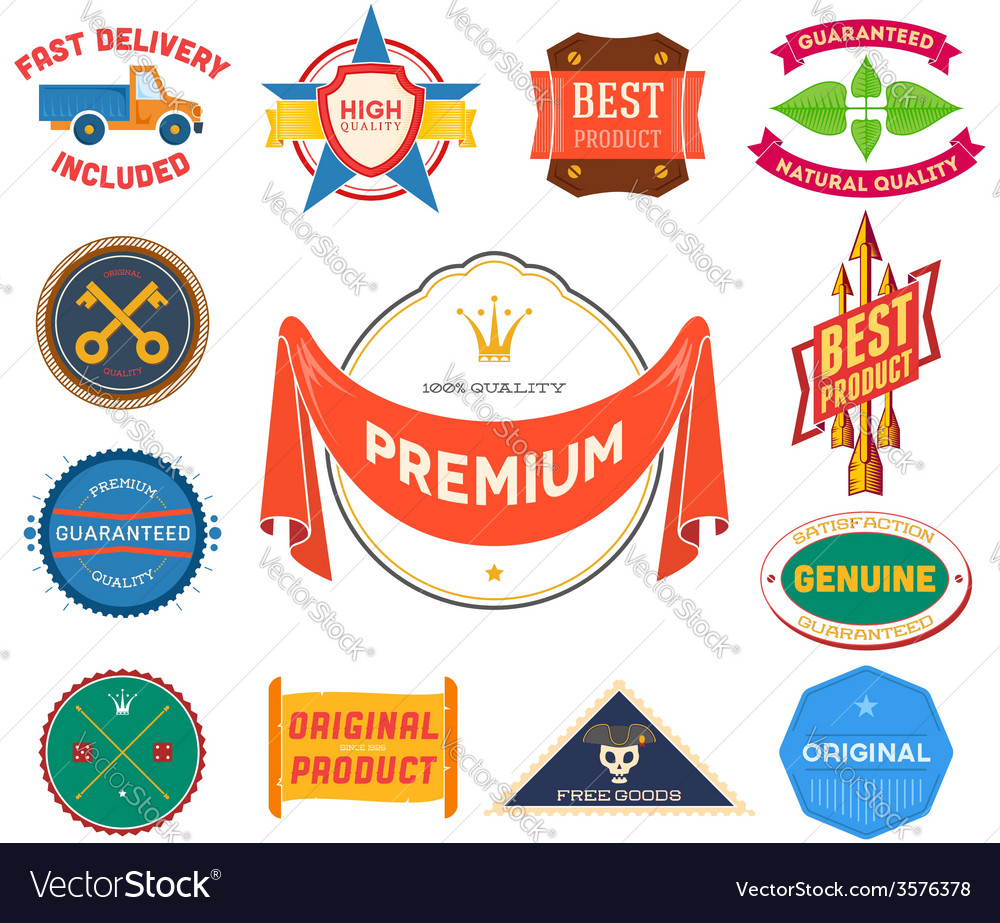 Set of flat colored vintage labels collection 9 vector | Price: 1 Credit (USD $1)