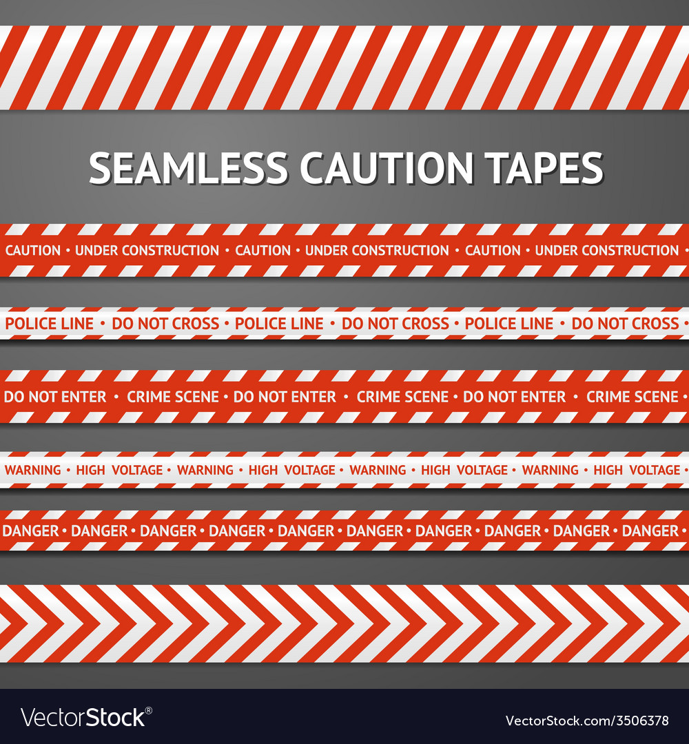 Set of red and white seamless caution tapes with vector | Price: 1 Credit (USD $1)