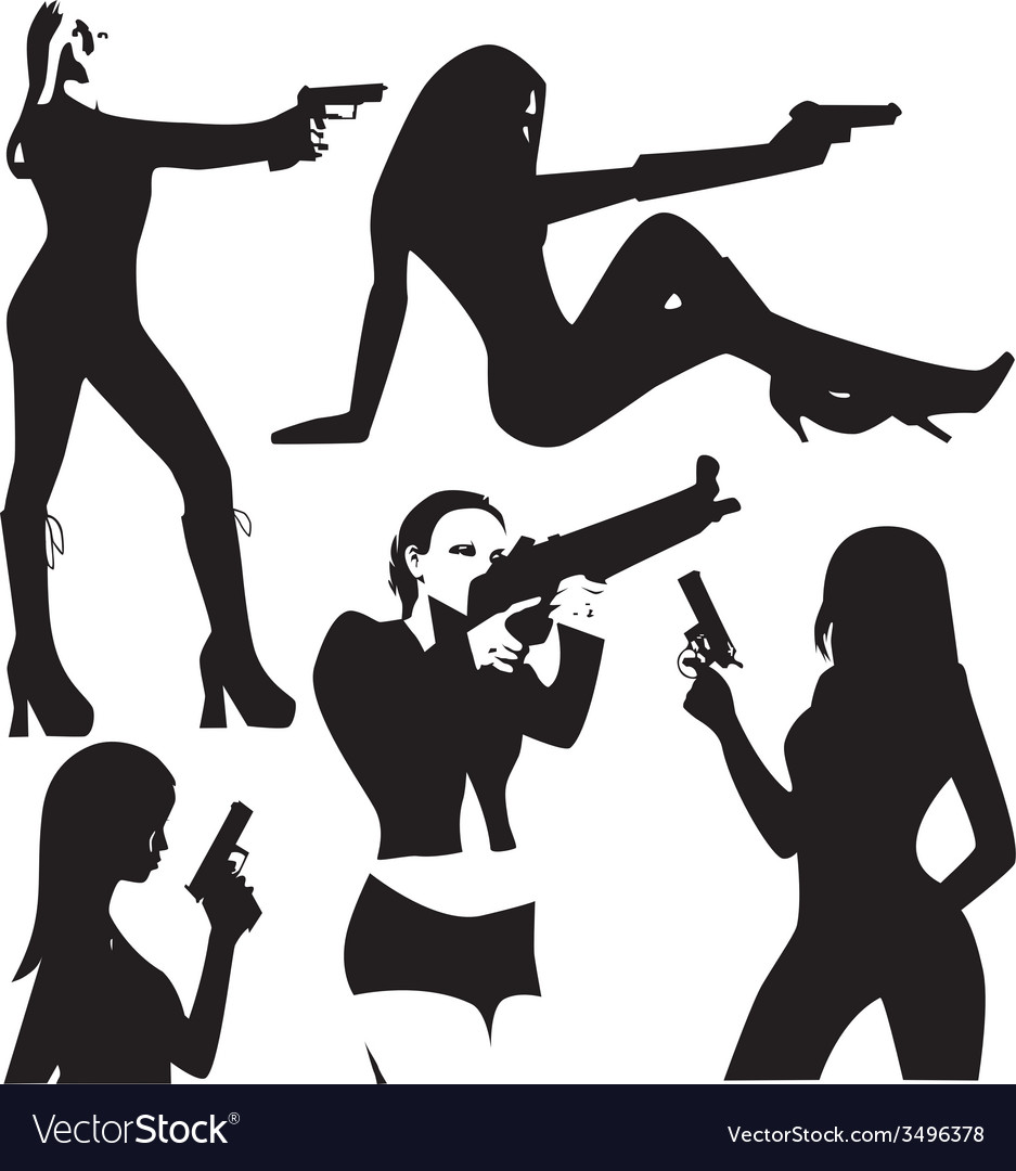Set of sexy woman silhouette with gun vector