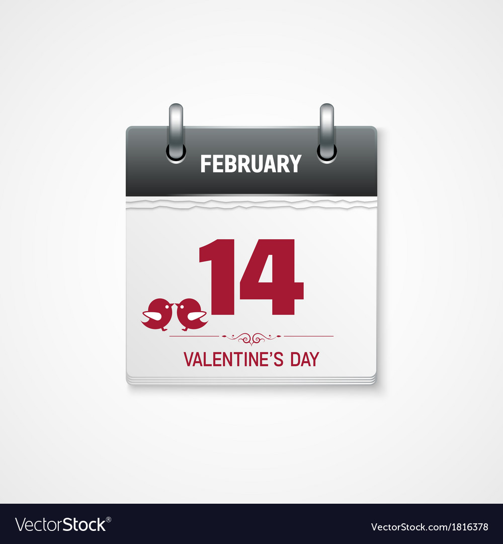 Valentines day calendar 14 february date vector | Price: 1 Credit (USD $1)