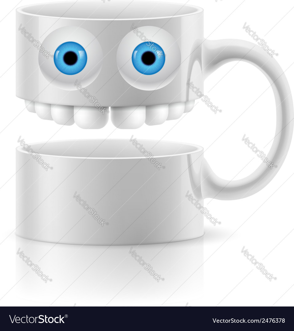 White mug of two parts with two eyes and teeth vector | Price: 1 Credit (USD $1)
