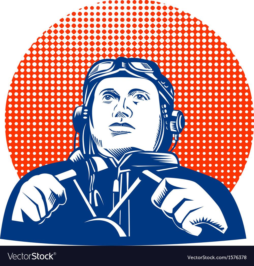 World war two pilot airman retro vector | Price: 1 Credit (USD $1)