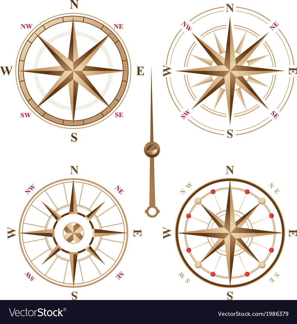 4 vintage compasses vector | Price: 1 Credit (USD $1)