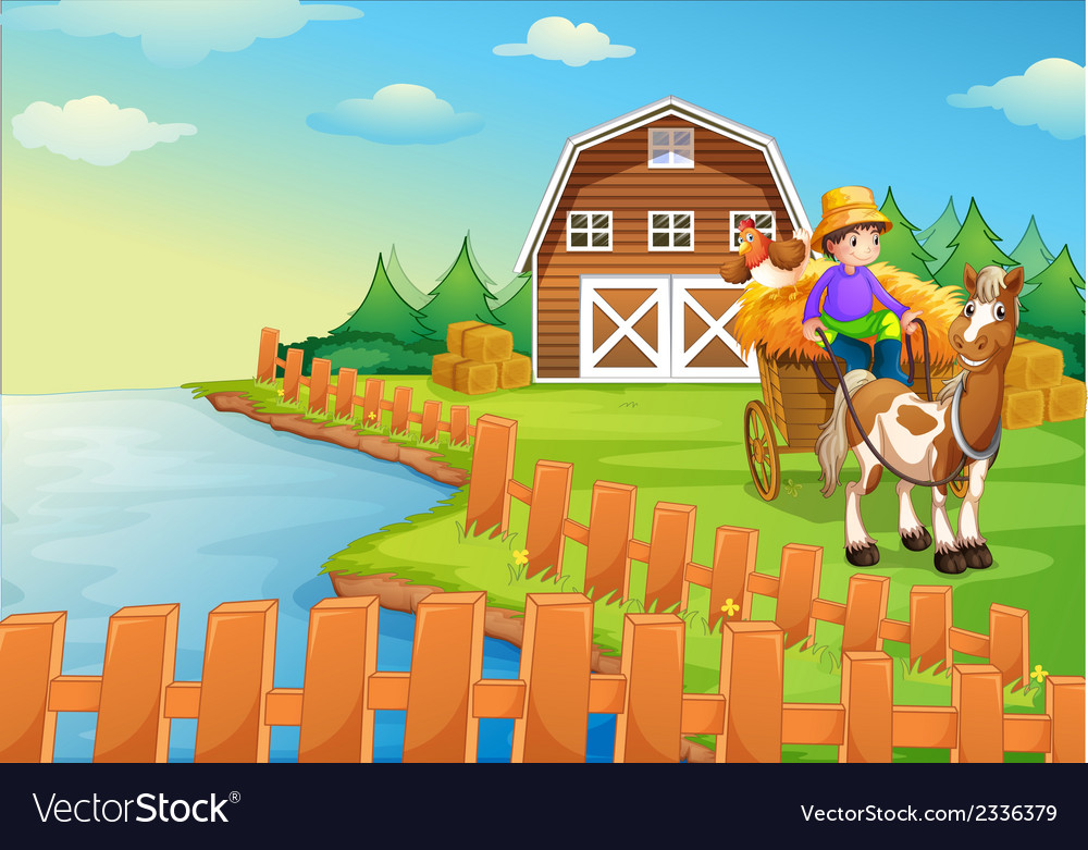 A boy at the farm vector | Price: 3 Credit (USD $3)