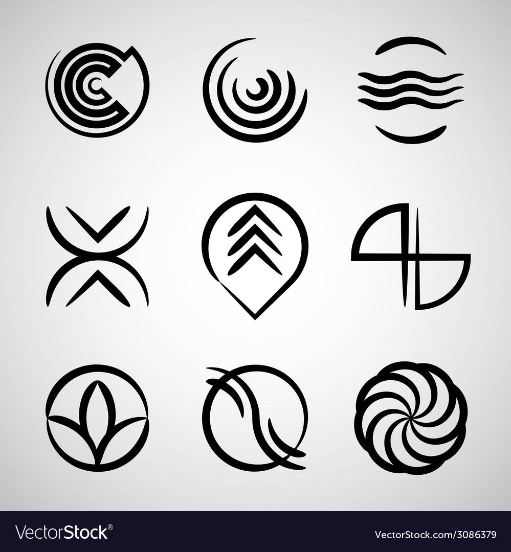 Abstract icons collection simple symbols set vector | Price: 1 Credit (USD $1)
