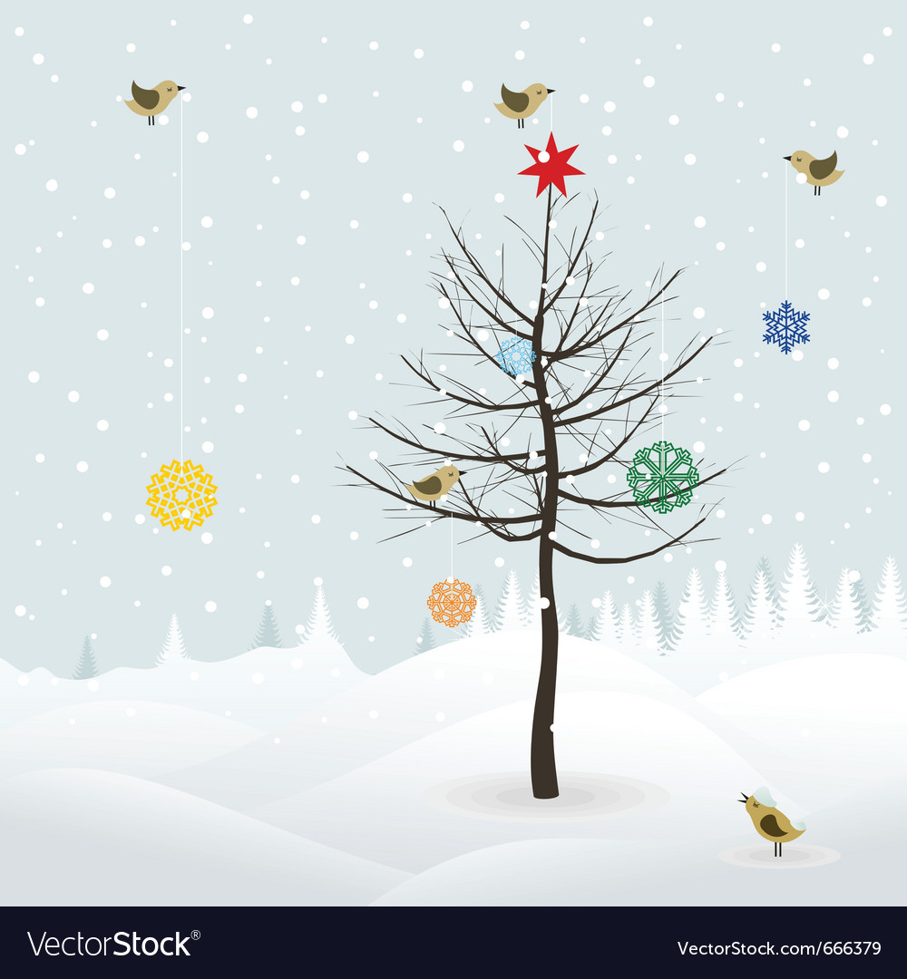 Birds decorate christmas tree vector | Price: 1 Credit (USD $1)
