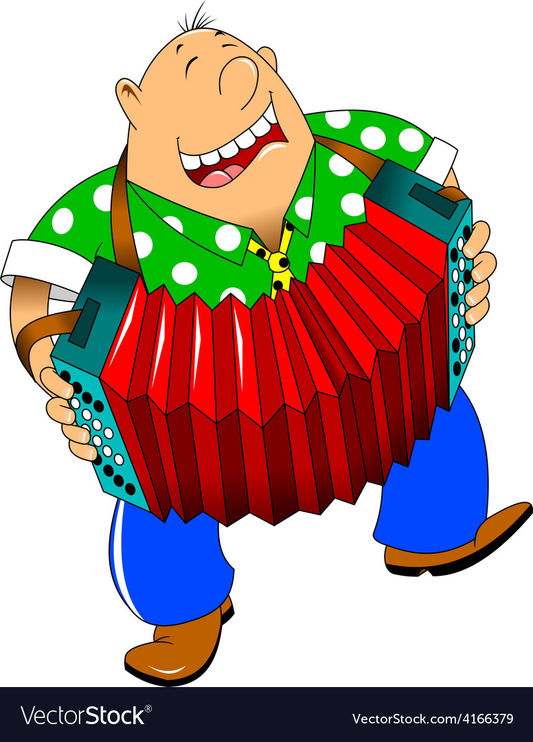 Cartoon accordion player vector | Price: 1 Credit (USD $1)