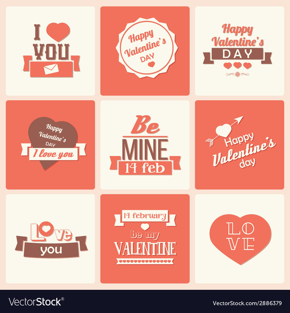 Collection of valentines day vintage labels vector | Price: 1 Credit (USD $1)