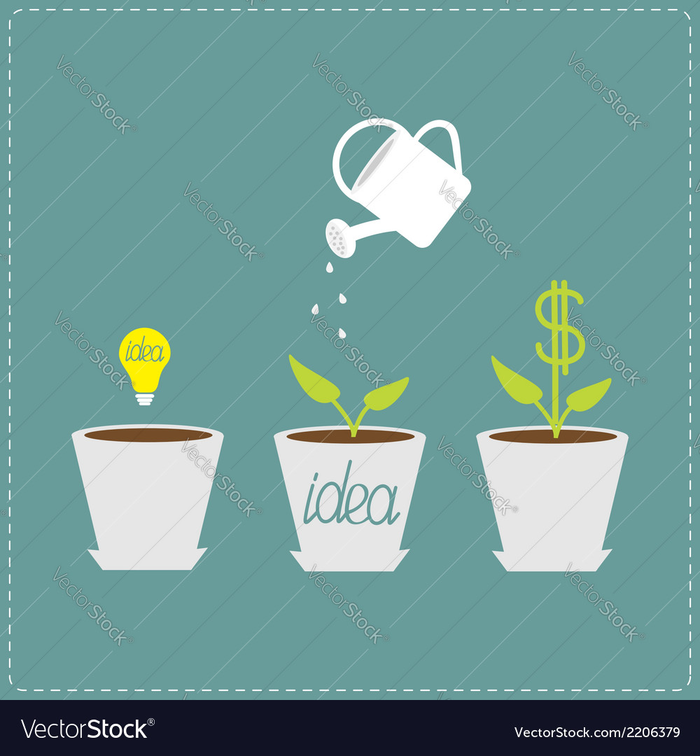 Financial growth concept idea bulb seed watering vector | Price: 1 Credit (USD $1)