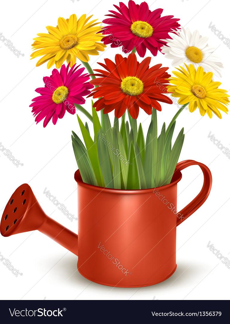 Fresh summer flowers in orange watering can vector | Price: 3 Credit (USD $3)