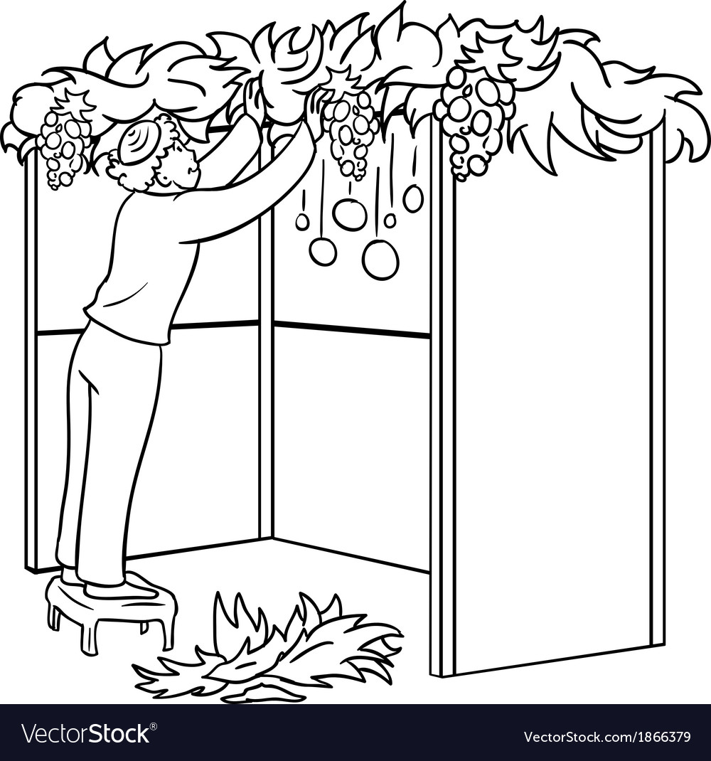 Jewish guy builds sukkah for sukkot coloring page vector | Price: 1 Credit (USD $1)