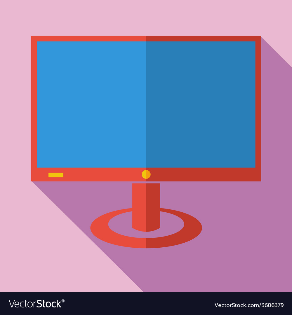 Modern flat design concept icon monitor tv vector | Price: 1 Credit (USD $1)