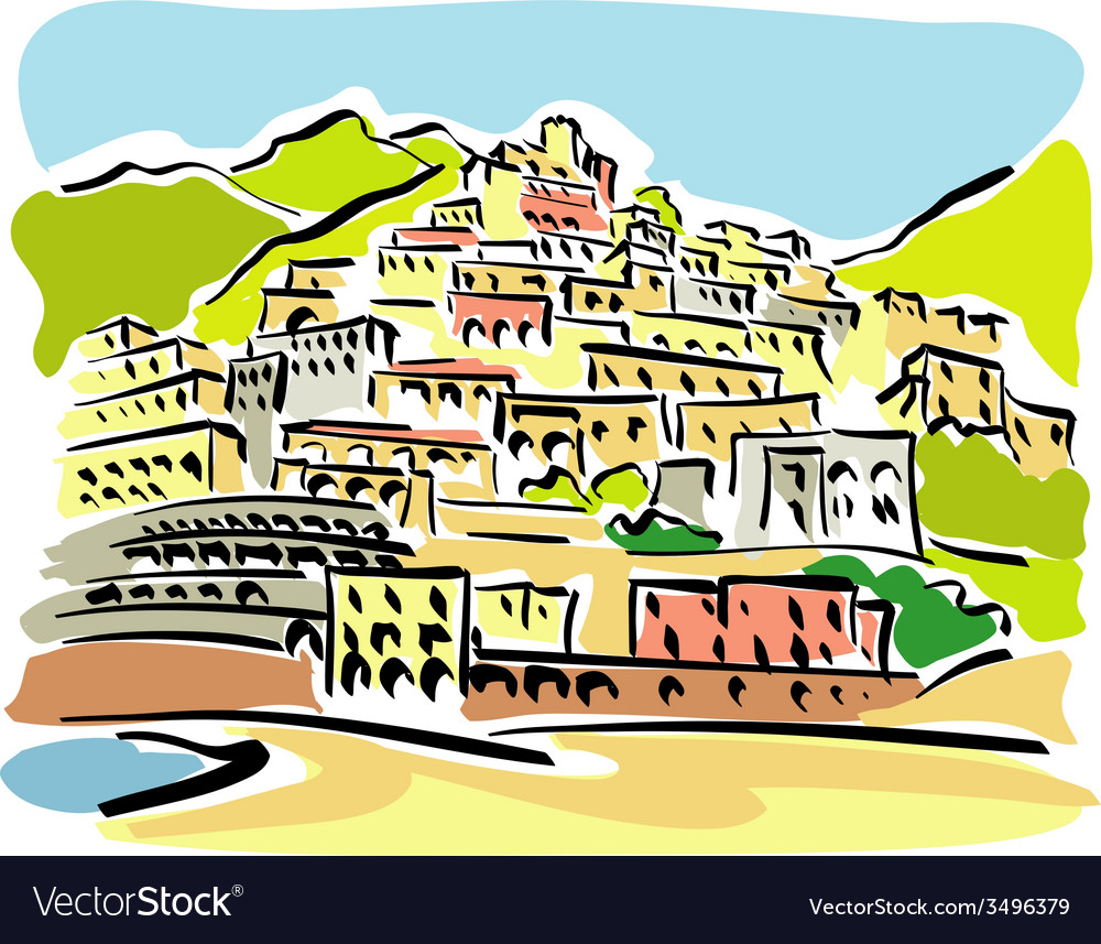 Positano vector | Price: 1 Credit (USD $1)