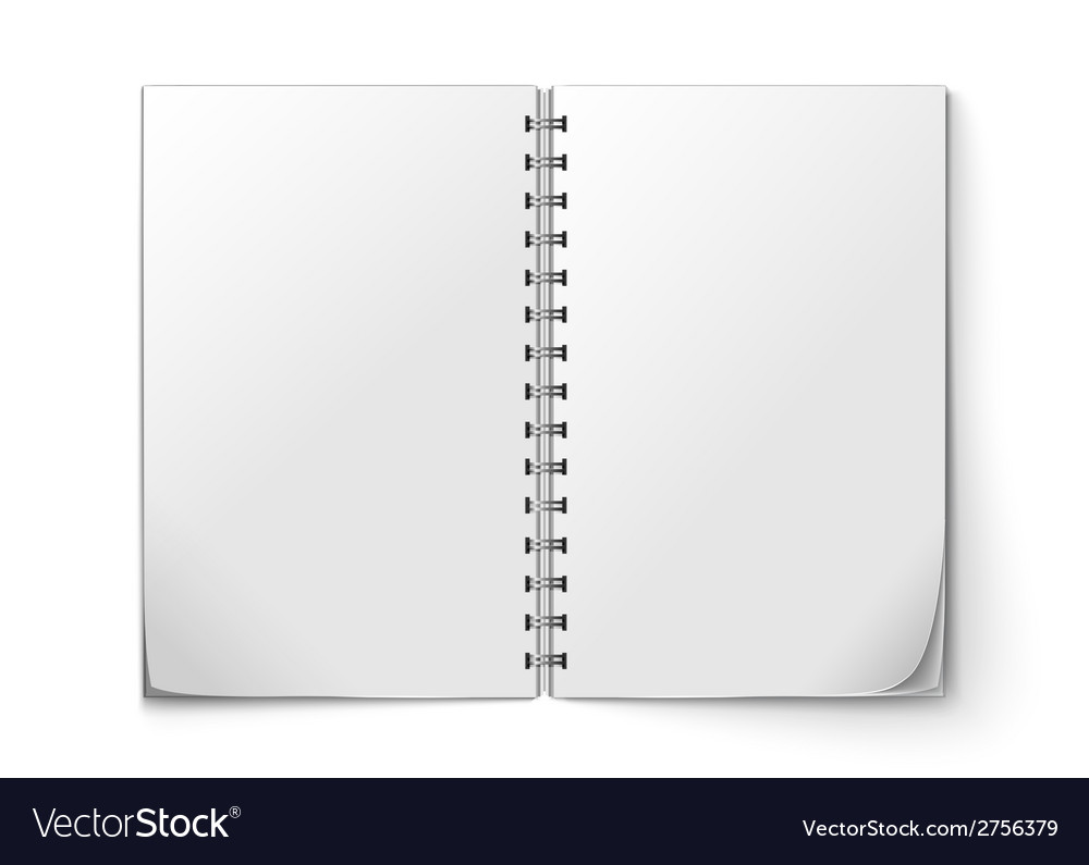 Realistic notepad open vector | Price: 1 Credit (USD $1)