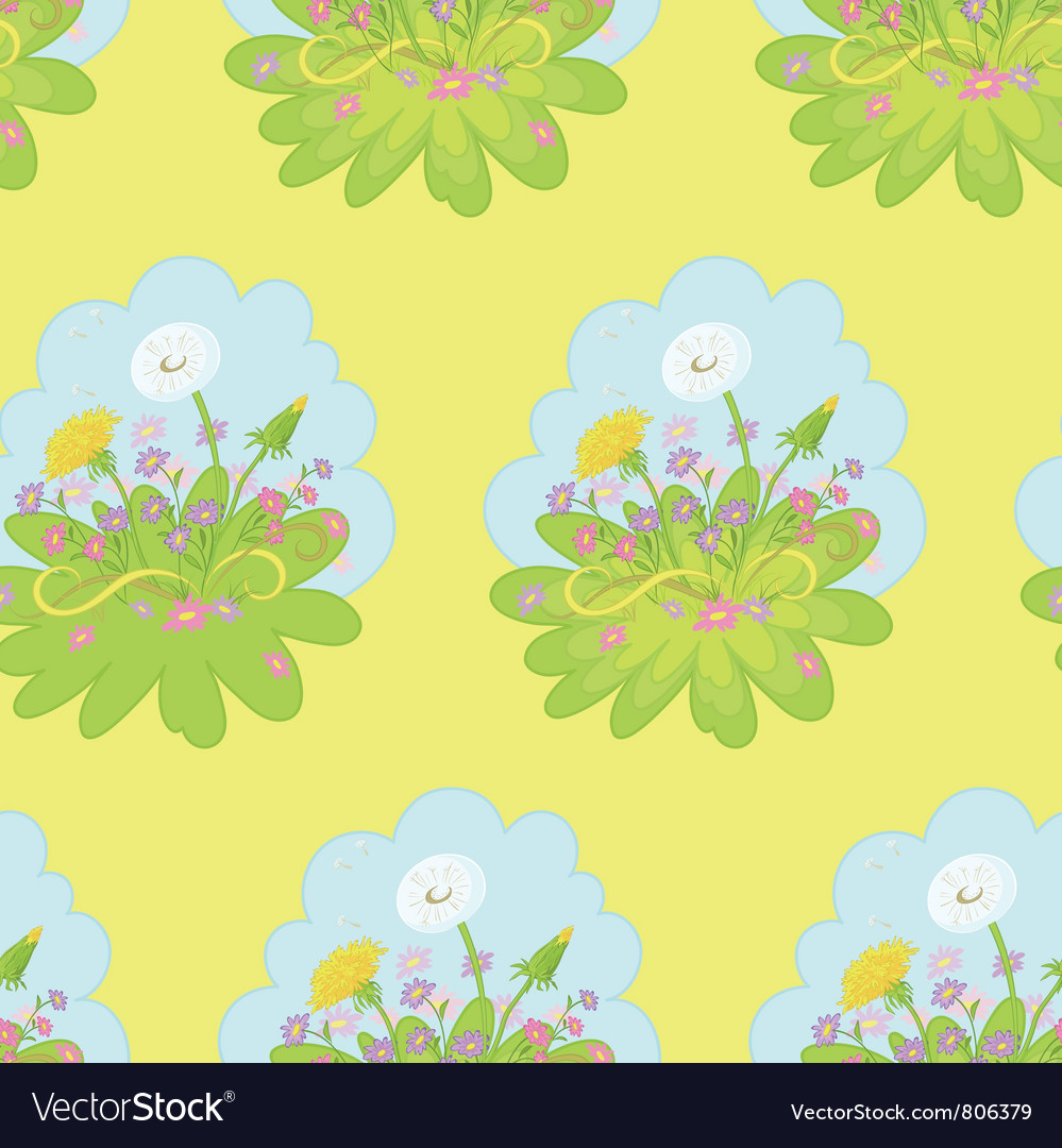 Seamless background dandelions flowers vector | Price: 1 Credit (USD $1)