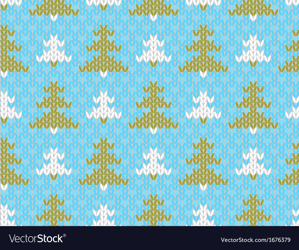 Seamless knitted pattern with trees vector | Price: 1 Credit (USD $1)