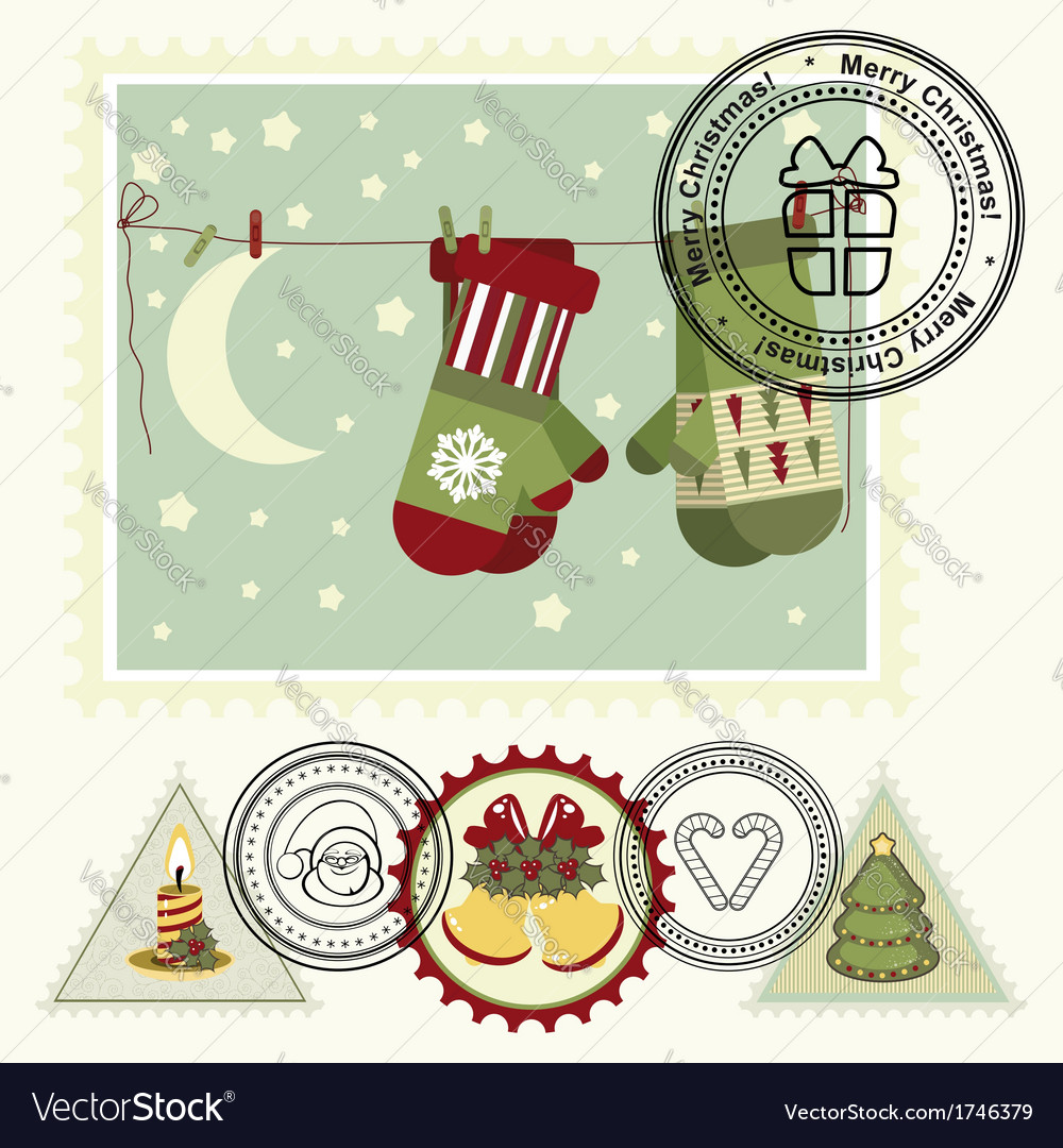 Series of stylized christmas post stamps vector | Price: 1 Credit (USD $1)